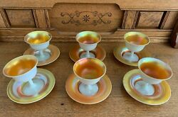 6 Steuben Carder Opalescent Gold Aurene Sherbet Dishes With Underplate