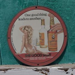 Vintage 1940 Old Grand-dad Straight Bourbon Whiskey Porcelain Gas And Oil Sign