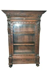 Small Scale Antique Flemish Bookcase Display Cabinet 1920and039s Oak