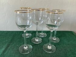 Lenox Crystal Mckinley Gold Band Set 6 X Wine Glasses Discontinued Pattern