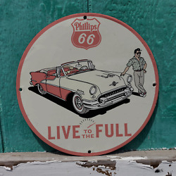 Vintage Phillips 66 ''live To The Full'' Gasoline Porcelain Gas And Oil Pump Sign