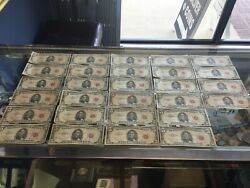 Lot Of 28 - 5 United States Notes 1963 Red Seal Washington D.c.