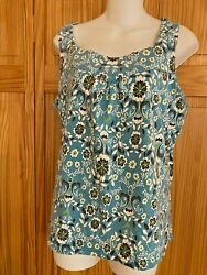 Bamboo Trader Floral Tank Top Green/white/black Size M Cotton Poly