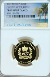 1977 Turks And Caicos Gold 50 Crowns Silver Jubilee Ngc Pf 69 Ultra Cameo Top Pop