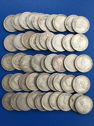 50 X 1910- 1945 Australia Florins 925 Sterling Silver Coins Only 14.5 Each