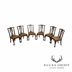 Ethan Allen 18th Century Mahogany Chippendale Style Set 6 Dining Chairs