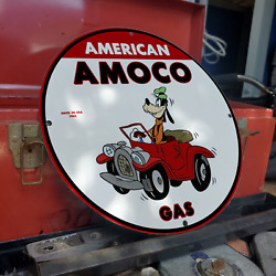 Vintage 1965 American Amoco Gas Petrol Stations Porcelain Gas And Oil Pump Sign