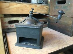 Vintage Metal Coffee Grinder Hand Crank Mill No Drawer Early Heavy Antique