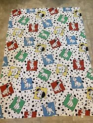 Vintage Disney 101 Dalmations Flat Sheet Dogs Spots Colorful Made In U.s.a.