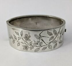 Sterling Silver Antique Aesthetic Movement Bangle 1883