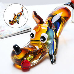 Blow Glass Art Dog Figurines Crystal Sculpture Gift Table Decor Ornaments
