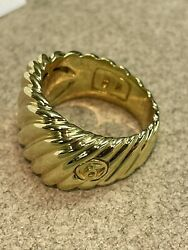 Genuine David Yurman 18kt Yellow Gold Cigar Cable Ring 14mm Wide
