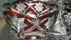 Crystal Art Glass Bowl Ruby Red Antique Cut 8.5 Inches Czech Circa 1930