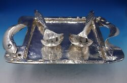 Fish By Emilia Castillo Mexican Silverplate Serving Tray Spoons Set 3pc 5278