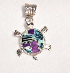 Native American Style Sterling Silver Turtle Pendant With Multi Inlaid Stones