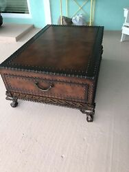 Polo Leather Wrapped Wood Trunk Coffee Table Two Drawers Claw Foot