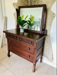 Antique, Solid Wood, Bedroom Dresser With Mirror Used