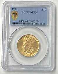 1911-p 10 Indian Head Pre-33 Gold Eagle Pcgs Ms64 Brilliant And Freshly Graded