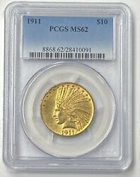1911-p 10 Indian Head Pre-33 Gold Eagle Pcgs Ms62 A Very Choice Example