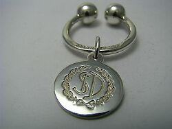 Sterling Silver Key Ring Holder Round Tag 925 Silver St D Post-1950 Used