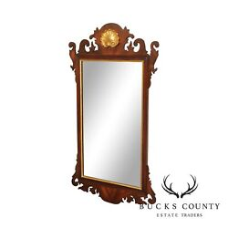 Henkel Harris Mahogany Chippendale Style Partial Gilt Wall Mirror