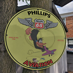 Vintage 1956 Phillips 66 ''trusted Wings In Aviation'' Porcelain Gas And Oil Sign