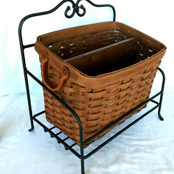 Longaberger Rich Brown Newspaper Basket Protector Divider Wrought Iron Stand
