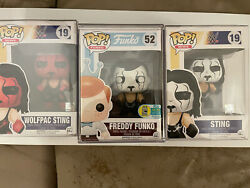 Freddy Funko As Sting Wrestler. Sting Wolfpack And Sting Wcw 3- Funkos