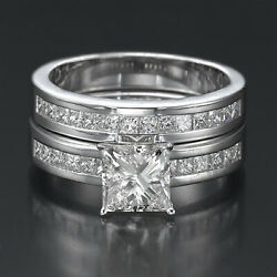 Authentic 2.3 Ct Princess Accented Diamond 18k White Gold Proposal Ring Band Set