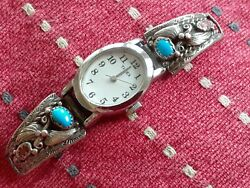 Rare Early 70s David Yurman Vtg Turquoise Coral Sterling Silver Watch Band Timex