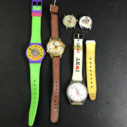 Lot Of 5 Vintage Disney Mickey Mouse Watches New York Mm Club International Flag