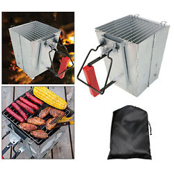 Foldable Charcoal Chimney Starter Quick Fire For Camping Stove Barbecue Bbq
