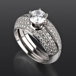 6 Prong 14 Kt White Gold Matching Bands Set Diamond Ring Vs D 2.43 Ct Colorless