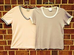 Vintage 80's Jr Miss And Society T-shirts Preppy Pastel Ringer Pink And Purple M
