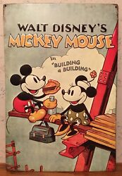 Walt Disney's Mickey Mouse In Building A Building Metal Sign 10 X 15 Used