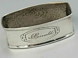 Webster Arts And Crafts Sterling Silver Napkin Ring Donald Name Engraving