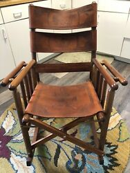 Costa Rican Royal Mahogany And Carved Leather Fold Up Rocking Chair