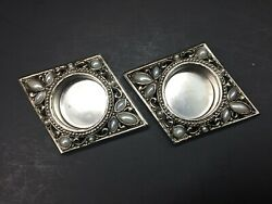Cast Metal Silver Colored Faux Mother Pearl Tea Light Candle Votive Holders Pair