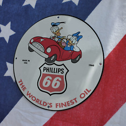 Vintage 1960 Phillips 66 The World's Finest Oil Porcelain Gas And Oil Pump Sign