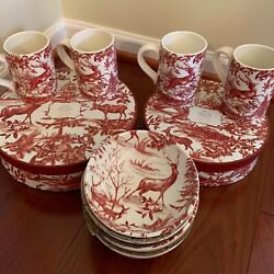 New Pottery Barn 17pc Alpine Toile Dinner Salad Plates And Mugs Bowls And Platter