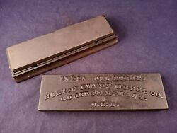 Excellent India Oil Stone - Norton Emery Wheel Co Cast Iron Box Worcester Mass