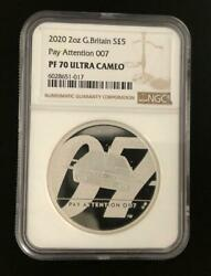 2020 United Kingdom 007james Bond 2oz Pay Attention Silver Coin Ngc Pf70uc