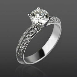 Vs1 14k White Gold Round Diamond Ring Solitaire And Accents 1.35 Ct 4 Prongs