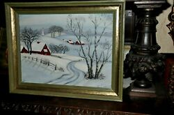 Antique Americana Snow Scape Original Artwork Is Signed H Lussier Dated 1944