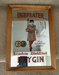 """Vintage Beefeater Mirror Hanging Bar Sign Distilled Dry Gin Wood Frame 13""""x9"""""""