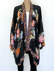 Johnny Was Plus Size 2xl Xxl Embroidery Black Floral Top Tunic Cardigan Womenand039s