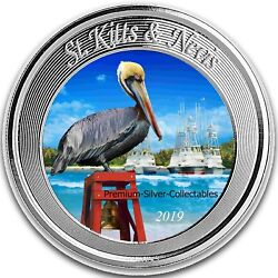 2019 St Kitts And Nevis Pelican 1 Ounce Pure Silver Colorized E8 Coin 2 Series