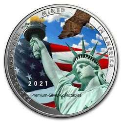 2021 Usa True Patriot Mined In Usa 1 Ounce Pure Silver Colorized Coin Series