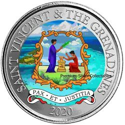 2020 St Vincent Coat Of Arms 1 Ounce Pure Silver Colorized E8 Coin Series