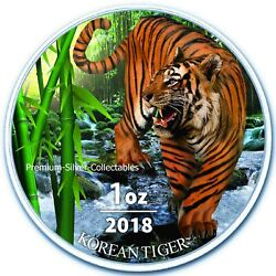 2018 South Korea Tiger - 1 Ounce Pure Silver And Colorized
